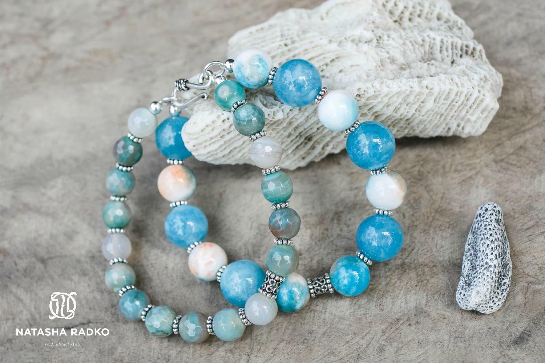 quartz agate wristlet jewelry silver amazonite
