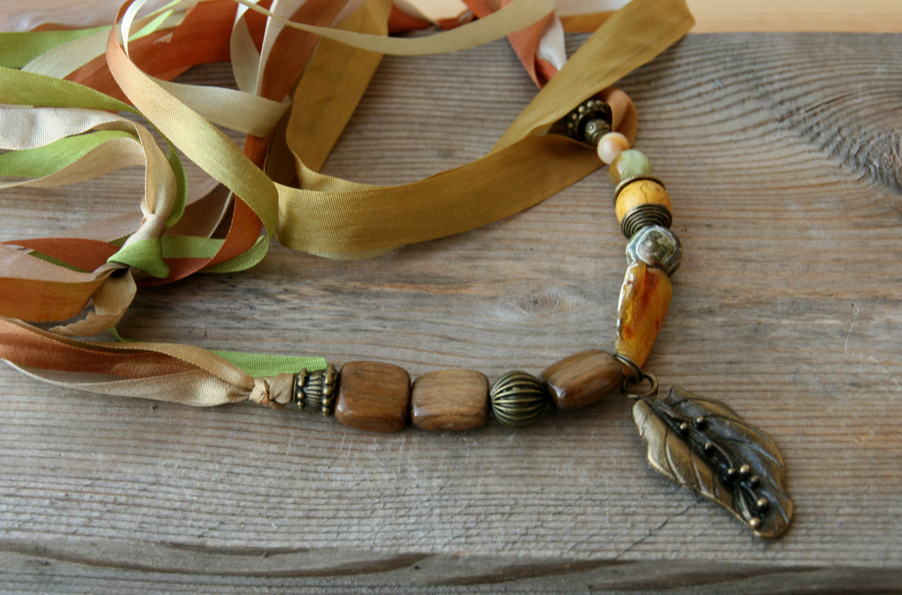 agate handmade necklace amber howlite onyx
