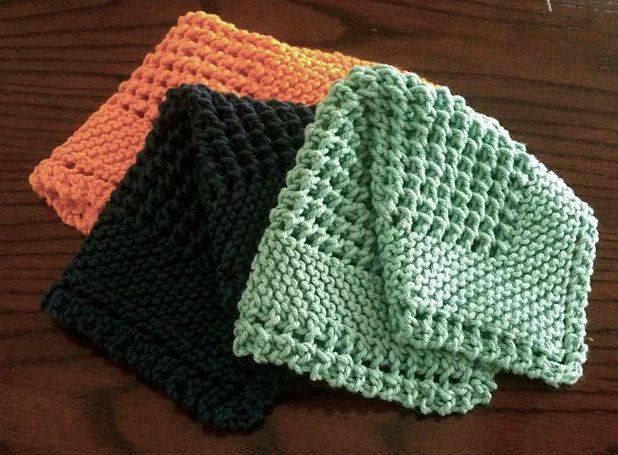 steps textile knit needles dishcloth goods