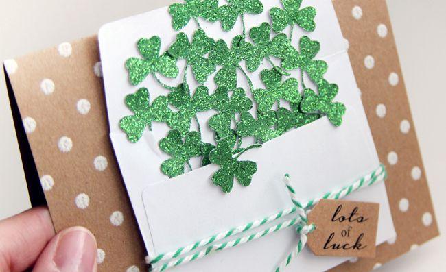 shamrock wishing card glitter beautiful simple envelope friendship handmade holiday luck