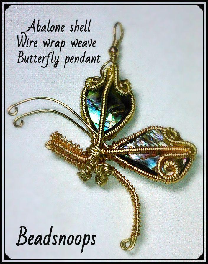 handmade unique pendants beadsnoops oneofakind wirewrapweave abaloneshell