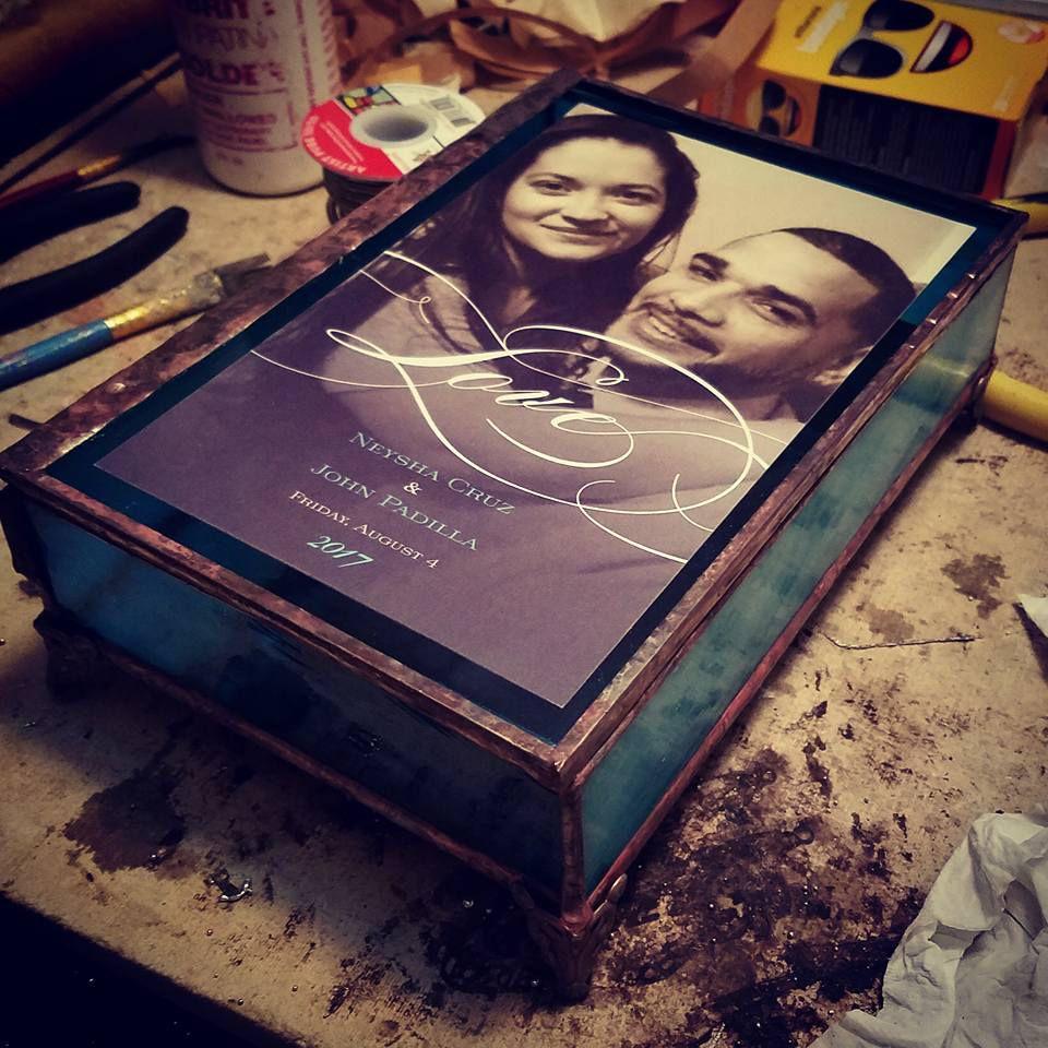 glass gift keepsake box stained wedding