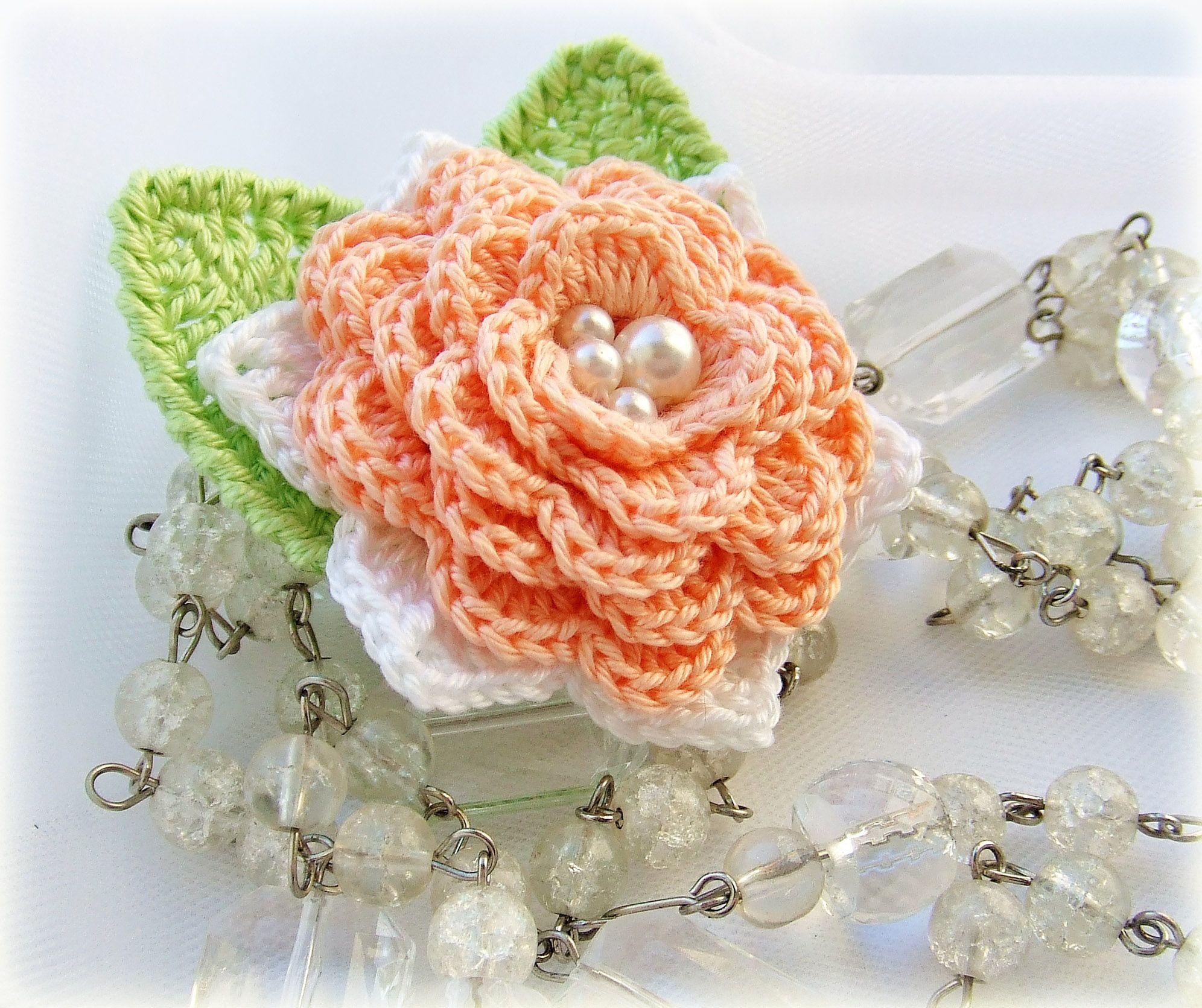 pin broach cotton orange knitting