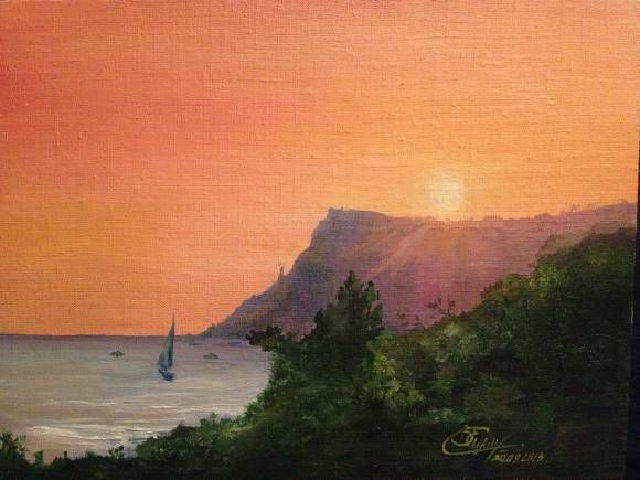 art painting sea oil landscape nature sunset