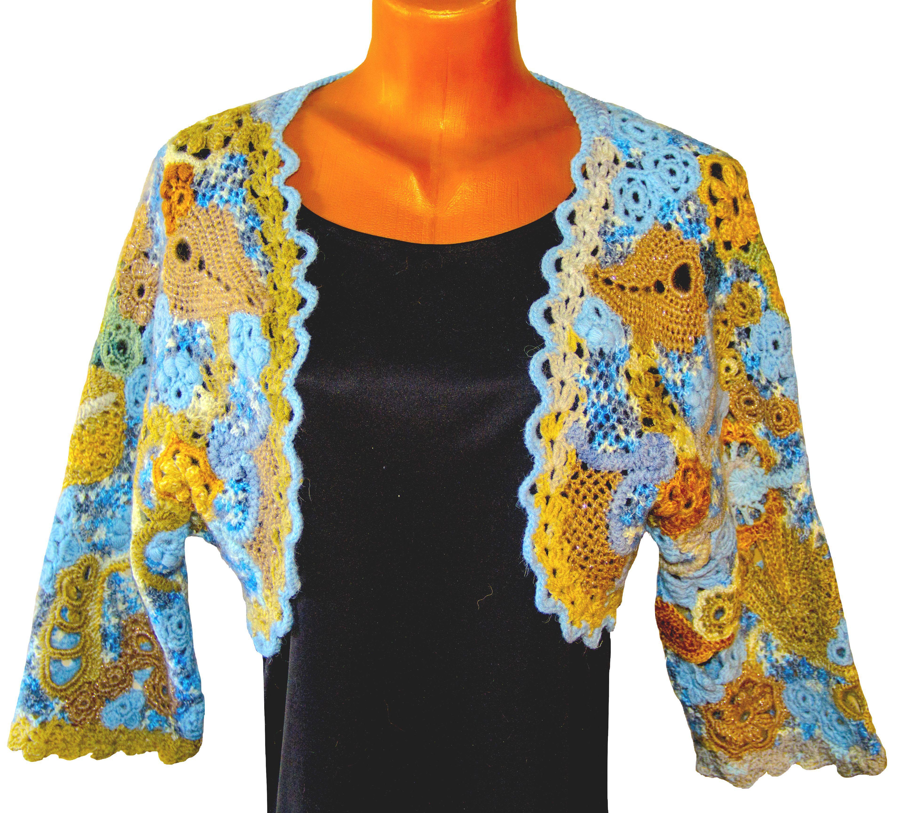 irish customdesigned handmade knitted lace flower bolero