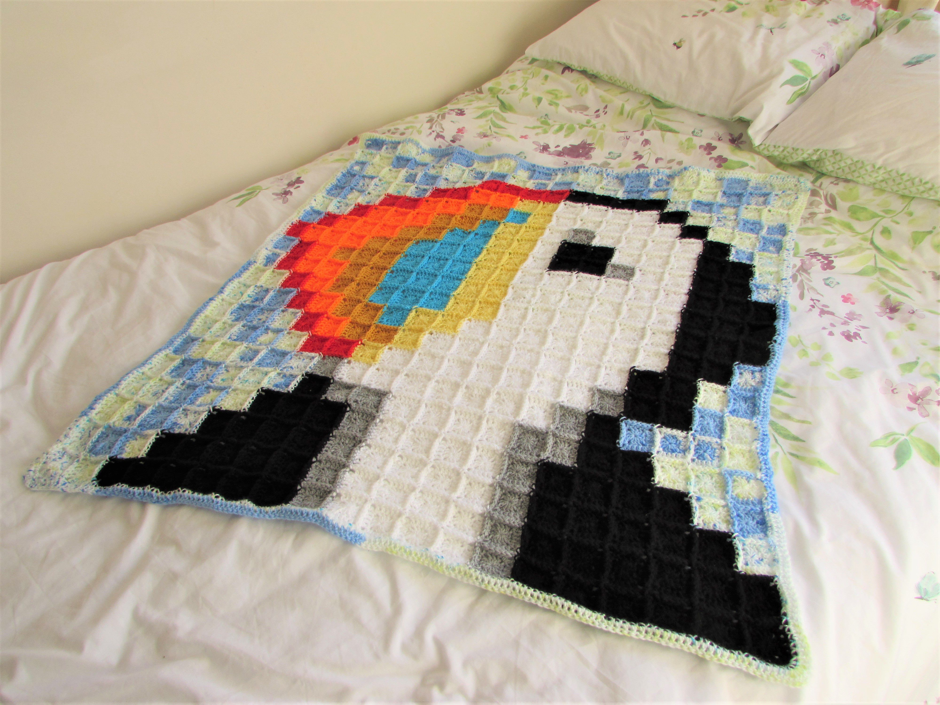 baby pixel puffin crochet blue blanket