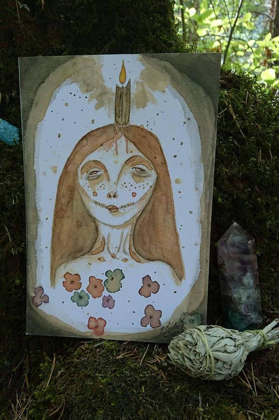 artwork art halloween painting coffee ink illustration decoration drawing watercolor witch etsy wicca witchy macabre pagan altar