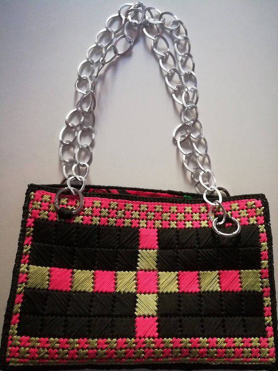 color bag makrame pink green handles boho crochet bla apply lining free yarn form freeshipping metallic canvas embroidery