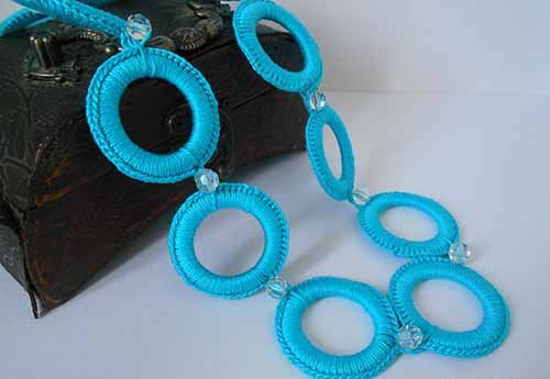 cotton textile necklace crochet goods