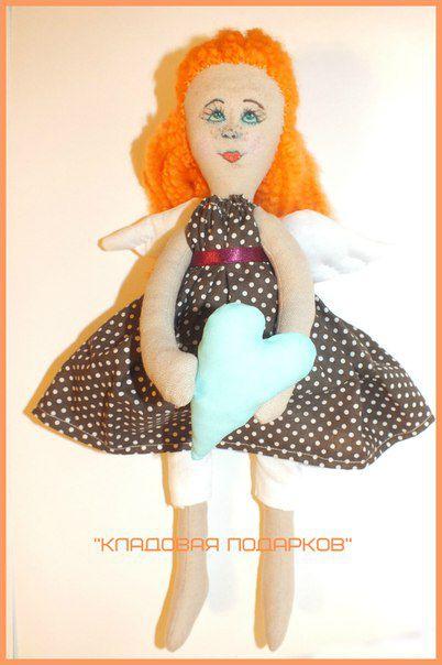 doll gift angel ginger heart handmade wings