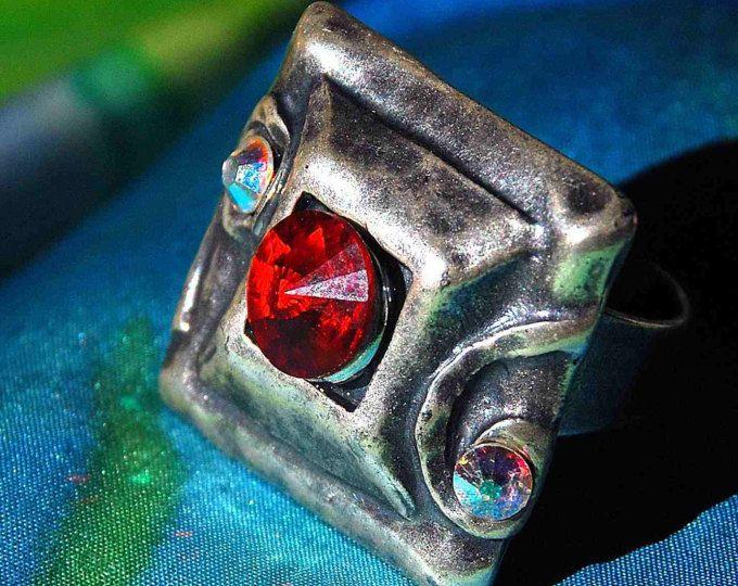 crystals swarovski stunning oxidized boho romantic ooak stylish hipster funky ring square elegant