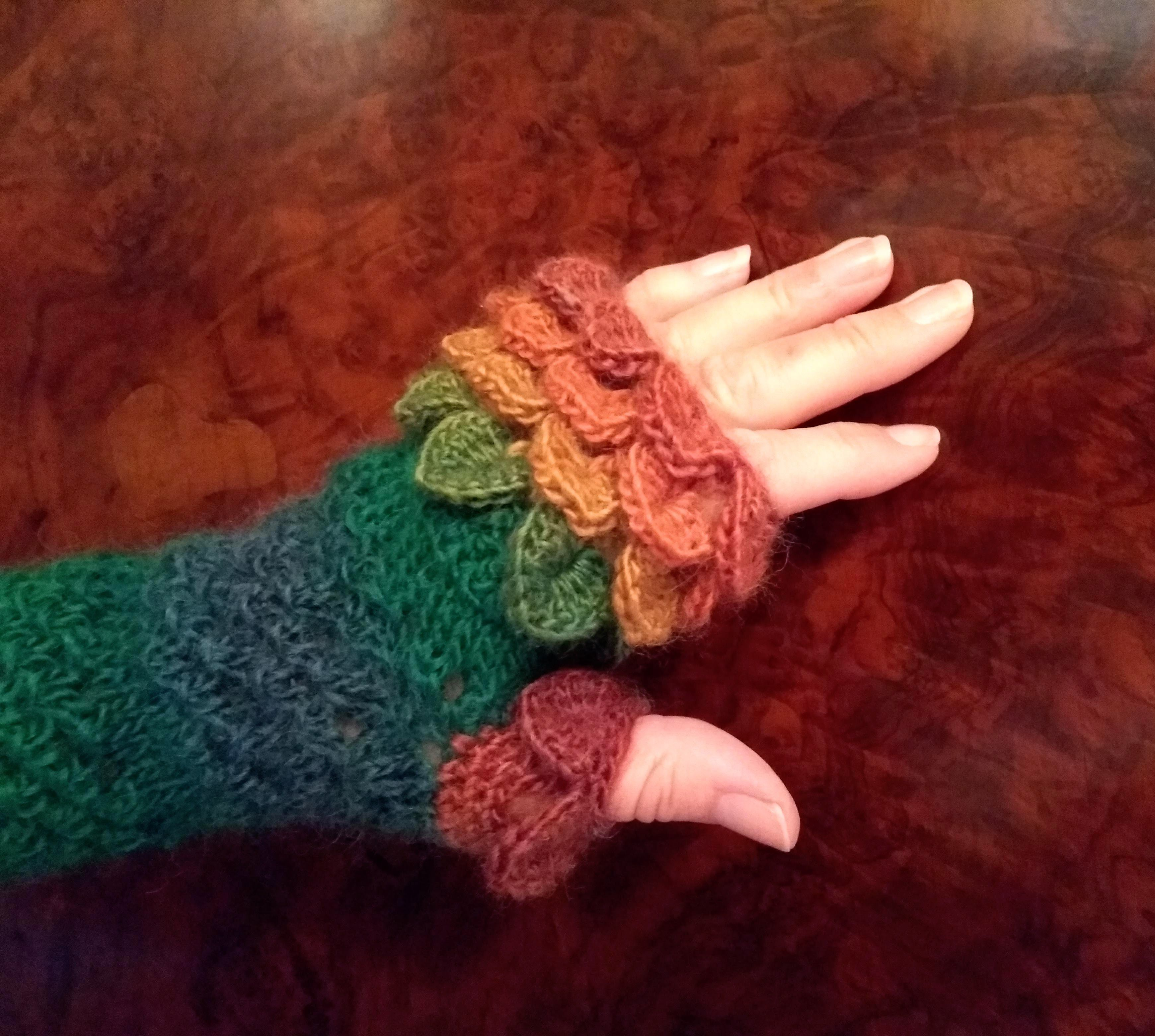 dragon autumn birthday colour her gift fingerless scales present christmas gloves for