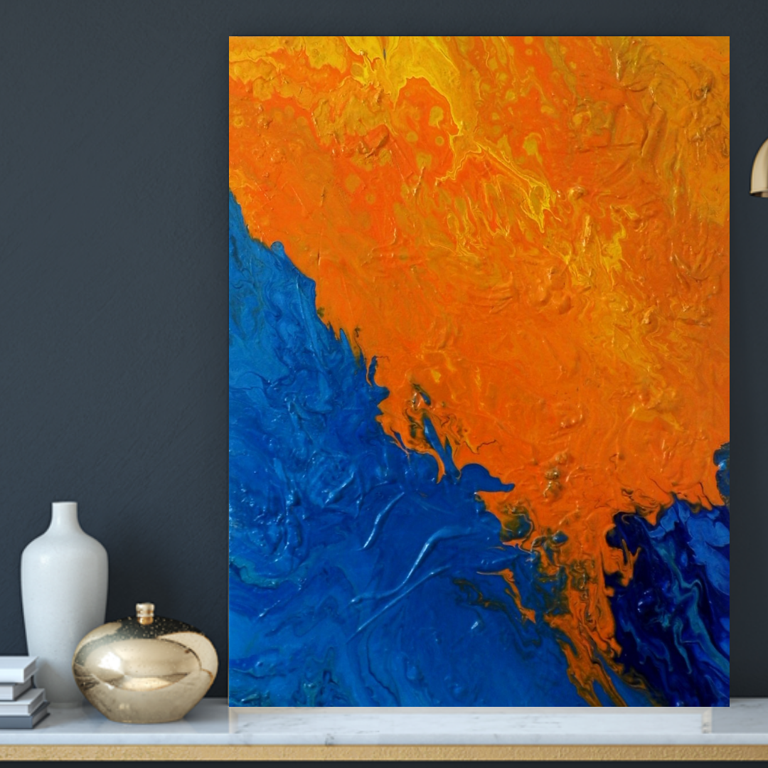 etsyeller gennhaio contemporayart orangepainting bluepainting modernart acrylicpour