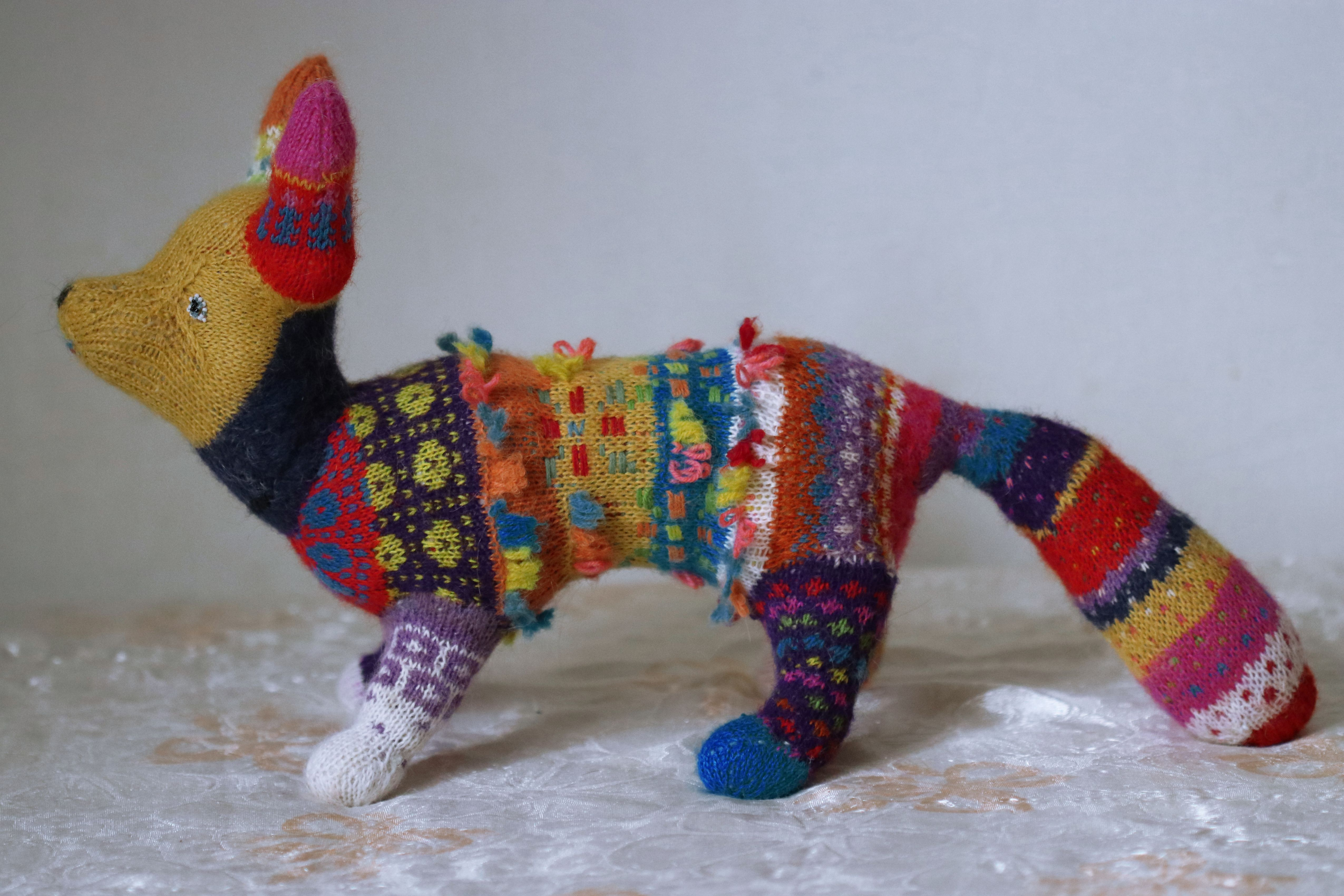 colorful fox gift stuffed rainbow animal collectible knitted orgonite plush