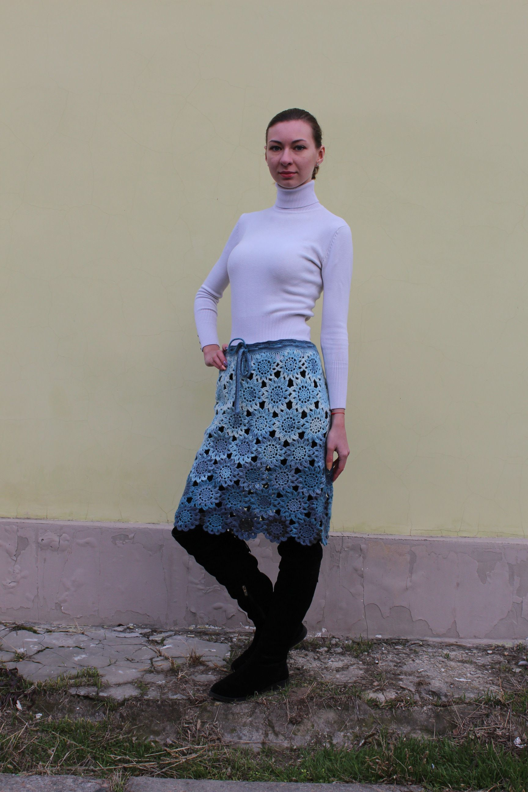 skirt clothes knitting women blue