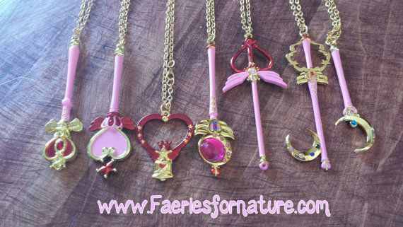 girl crystal sailor wand moon necklace jewelry charm mini necklaces sailormoon jupiter venus mars mercury septer crescent magical