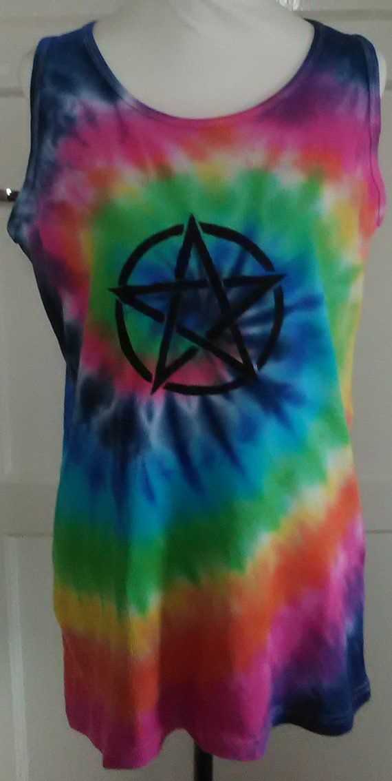 pentagram wicca hippy boho rainbow tiedye pagan vesttop witchy
