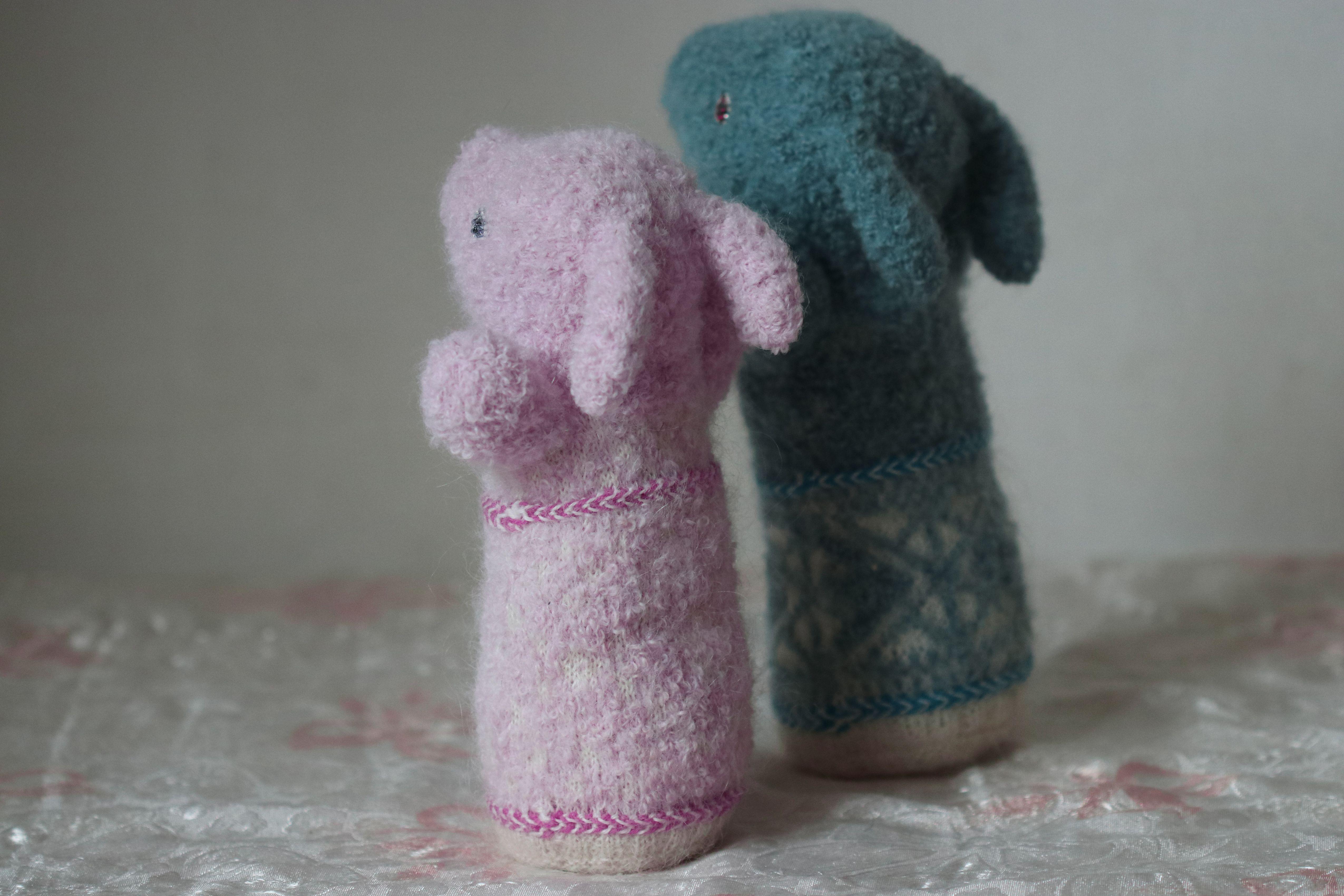 baby toy gift rabbit art beads bunny animal plush stuffed pink collectible fiber fluffy twin