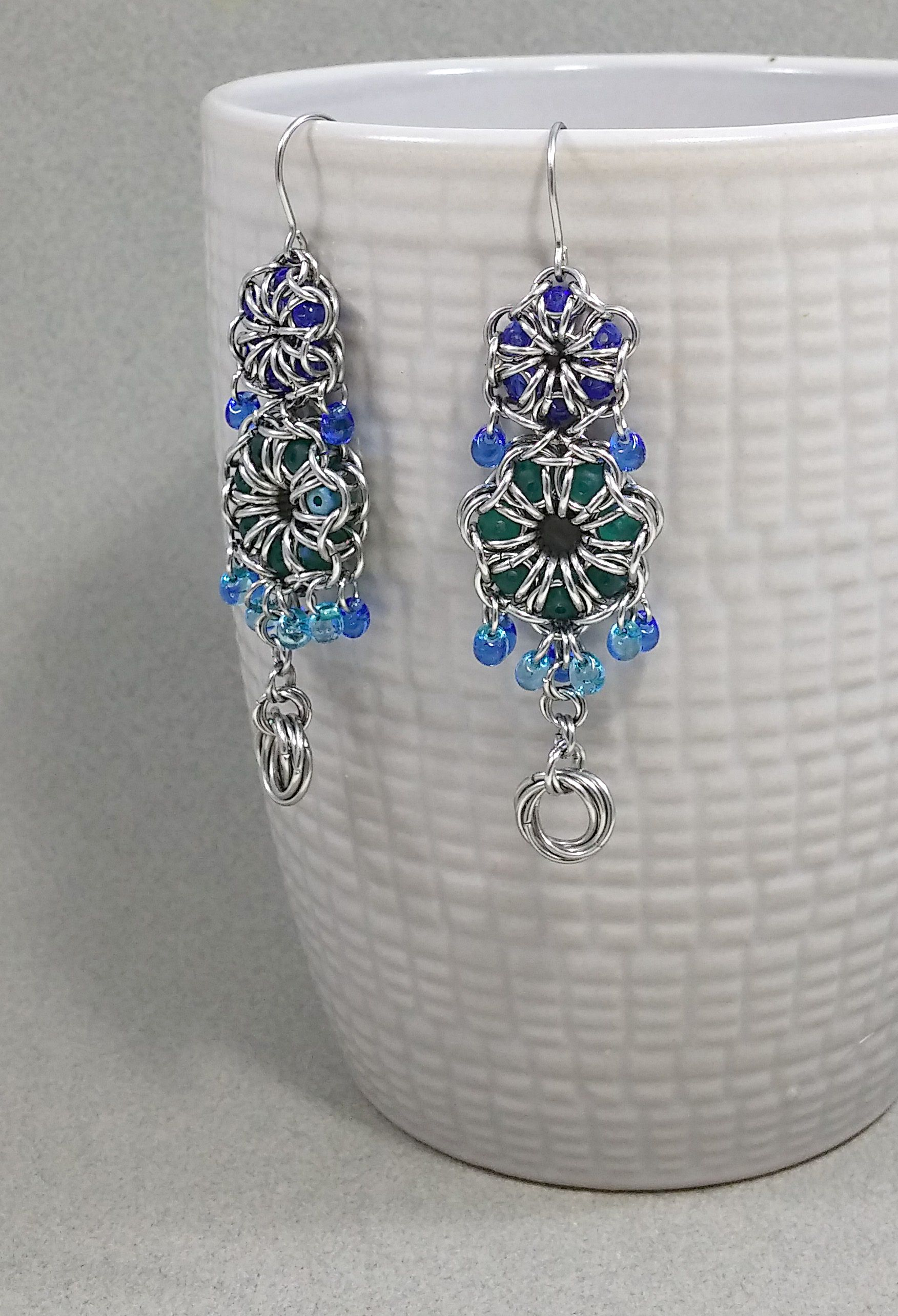 accessories festije chainmail earrings floral blue bluewedding bluejewelry