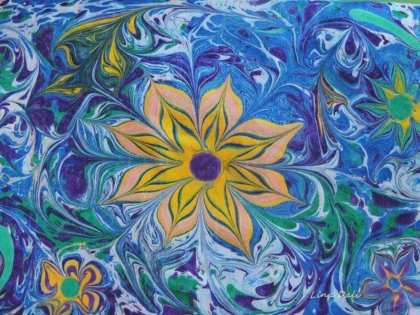flower gift art painting ebru workshop