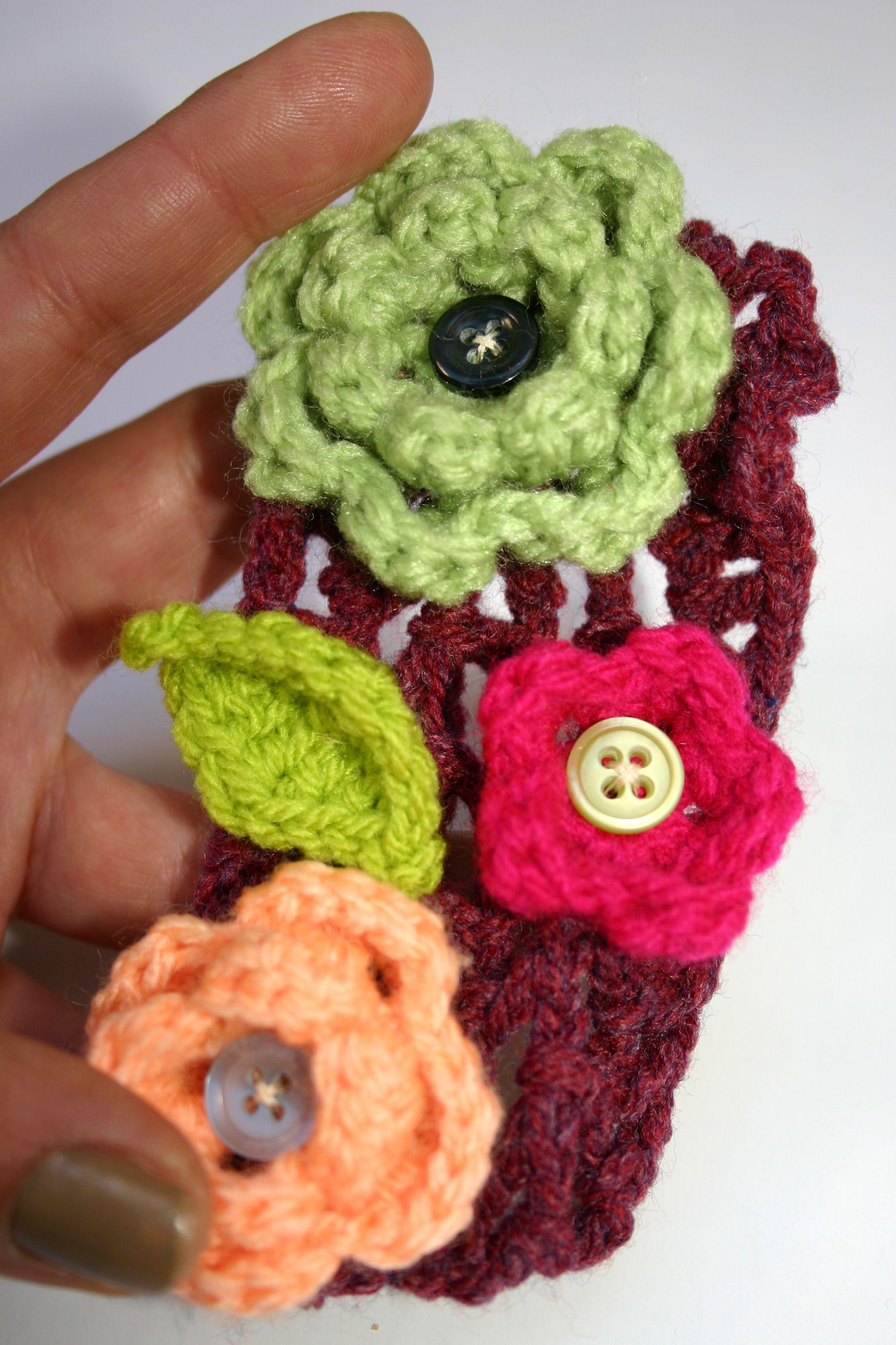 vintage boho brooch cotton jewelry flower crochet accessory