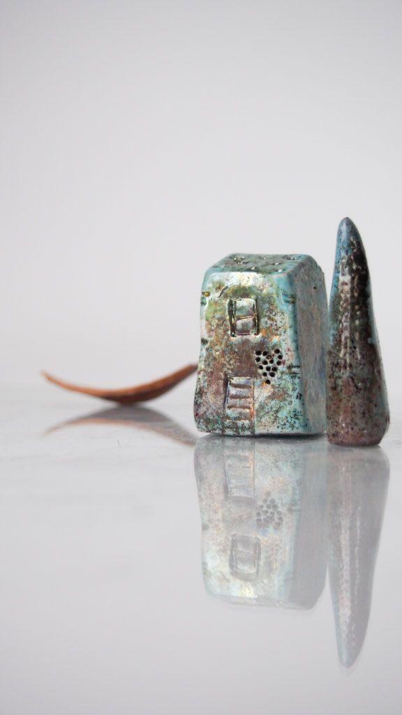 handmade house ceramic raku turqouise ceramicart artdecor