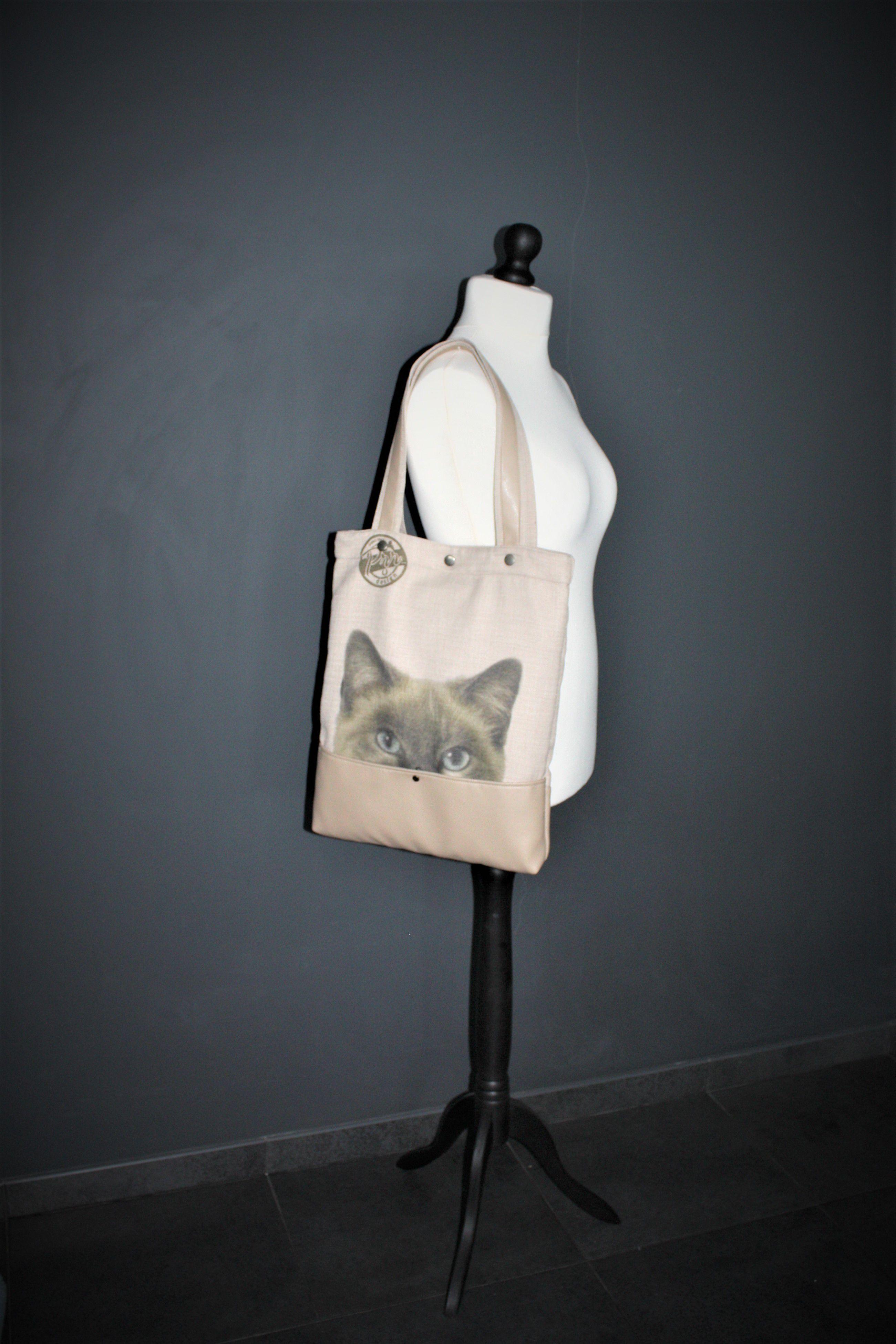 bag shopping cat gift big daily tote handbag handmade everyday