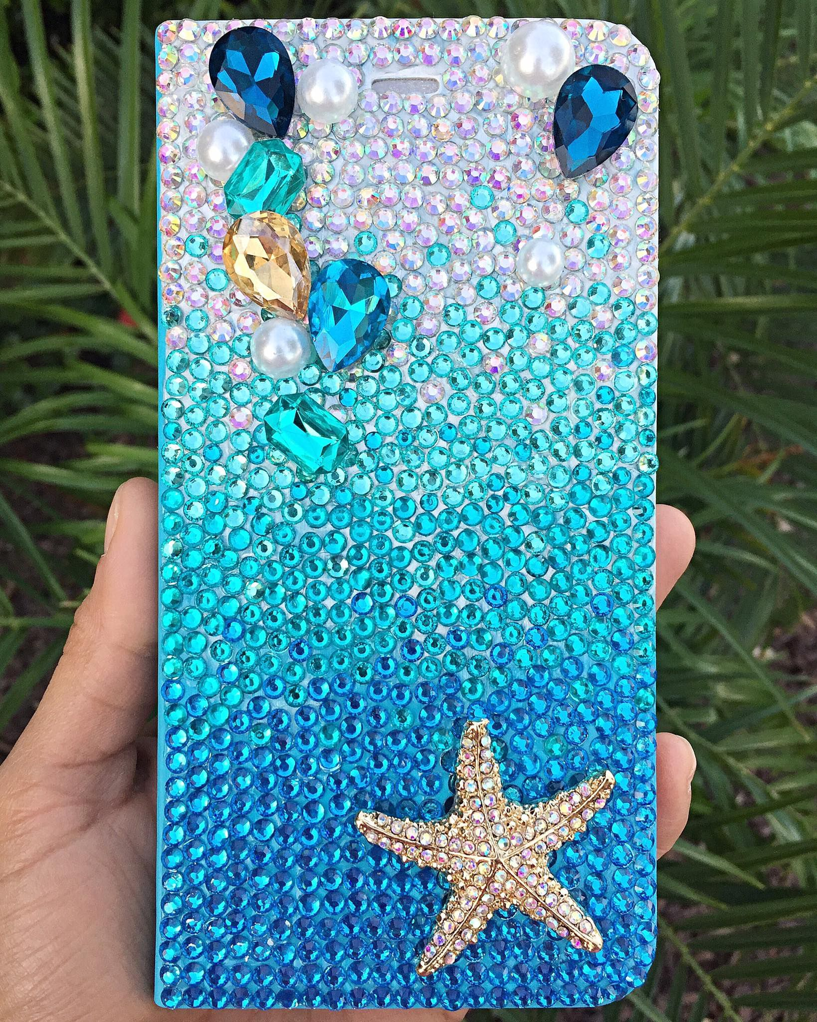 bling crystals aqua ombre case beach rhinestones phone mermaid starfish
