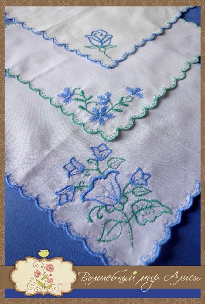 accessories handkerchief embroidery blue white