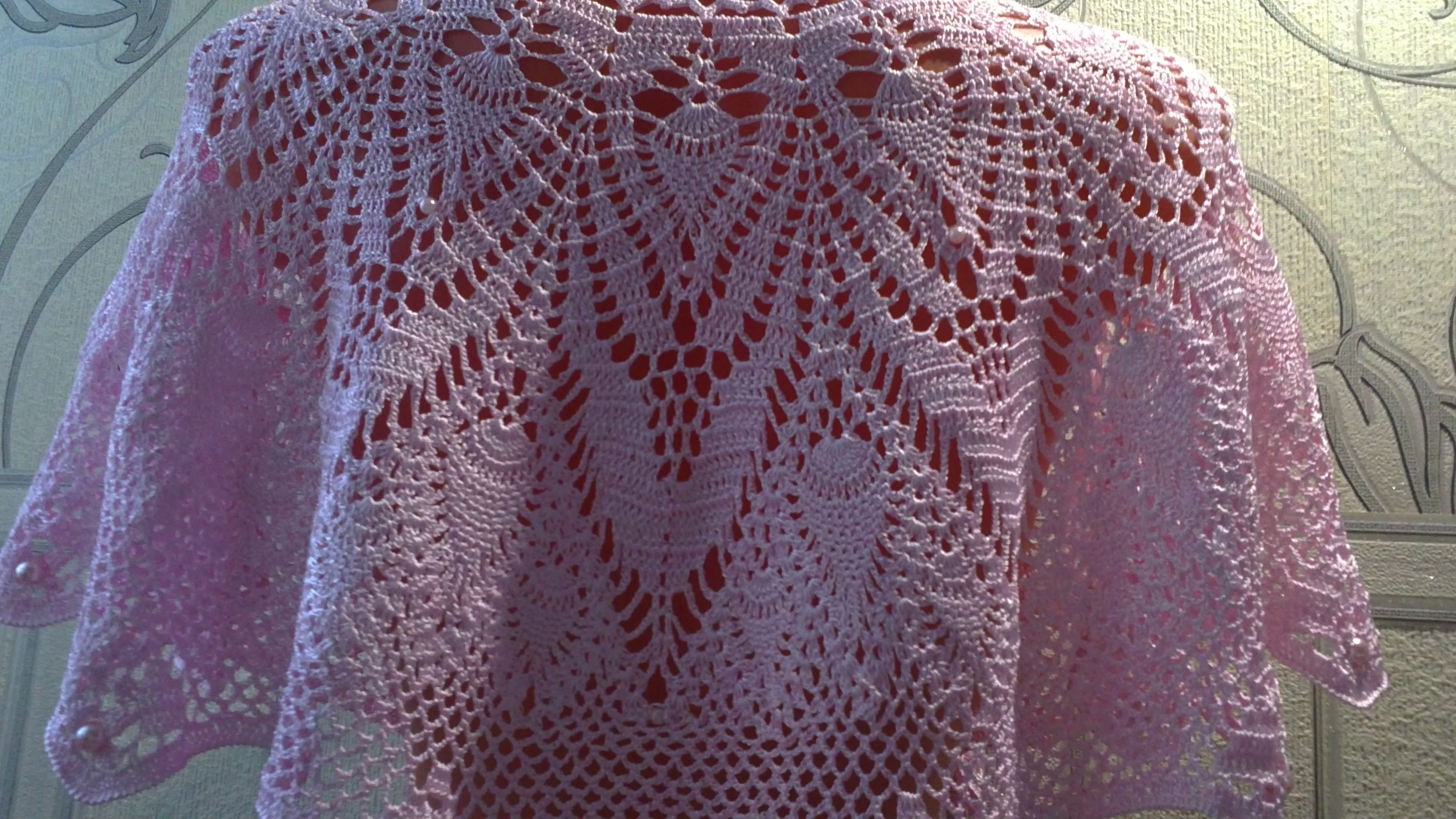 palepink cape openwork handmade
