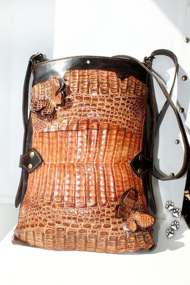 brown crocodile handbag leather