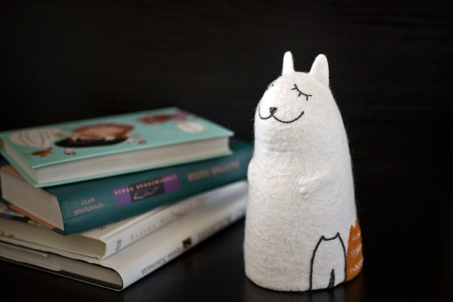 felt nightlight cat kittens interior lamp ginger