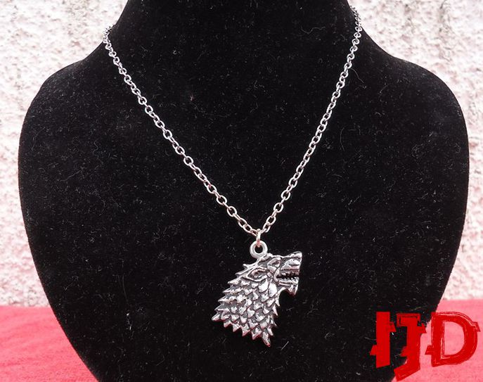 thrones game pendant gift dire house indian stark jewelry necklace wolf silver sigil