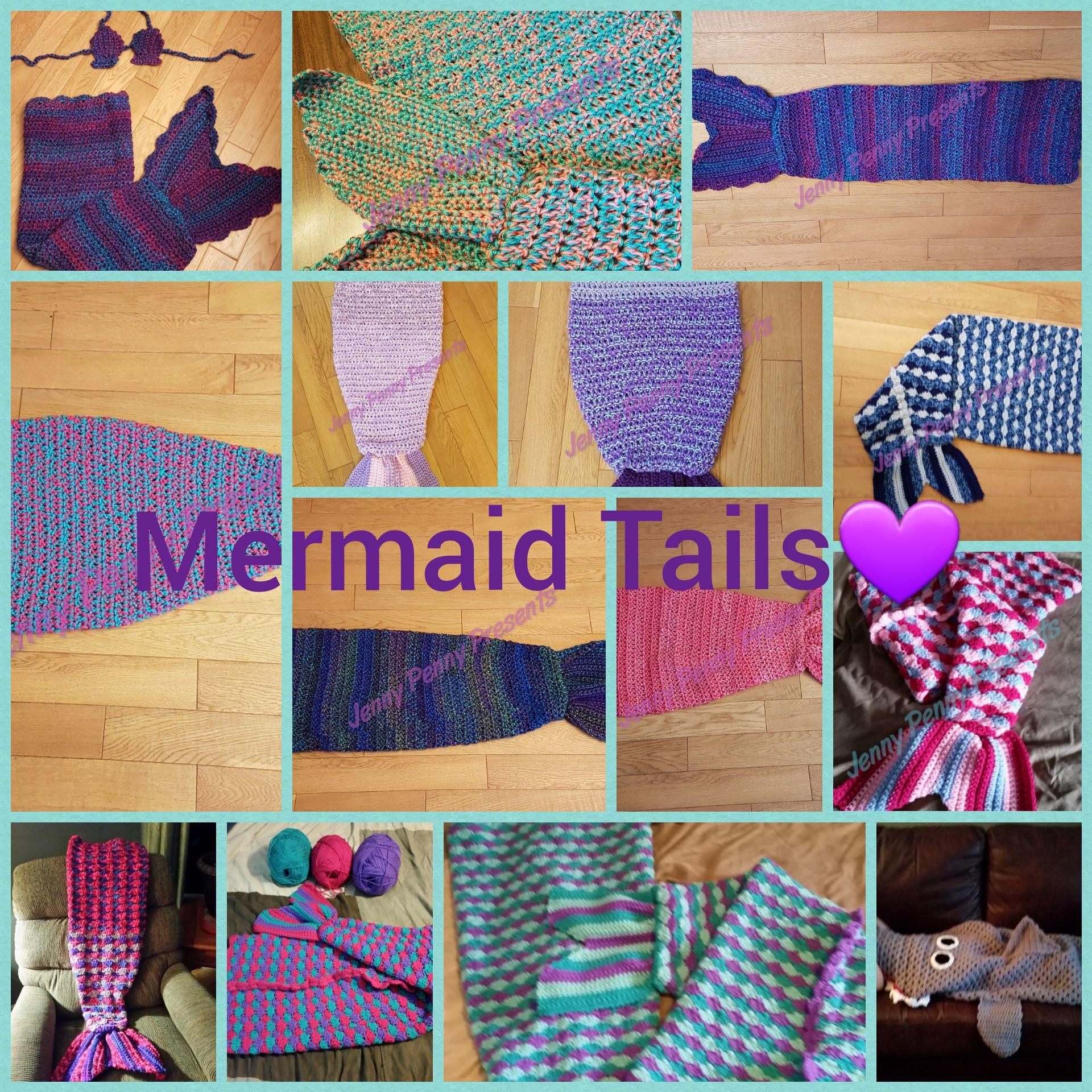 blankets crochet handmade tail mermaid
