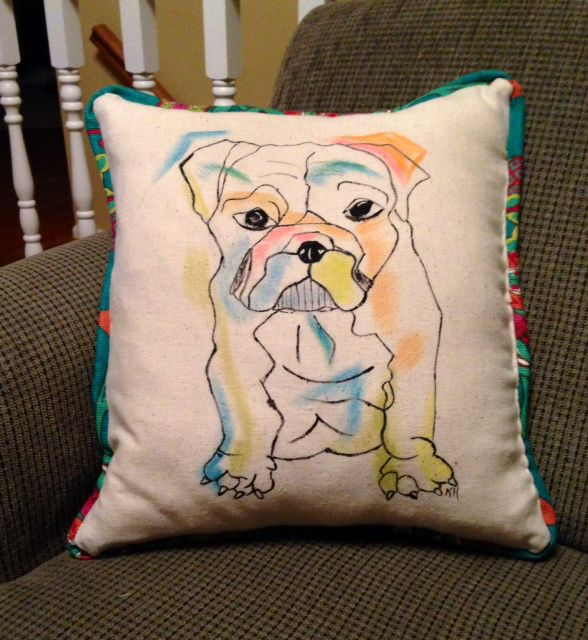 painted hand pets pillows portraits pet