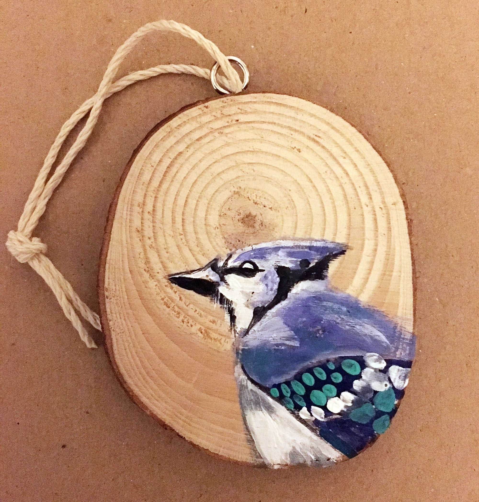 unique decor ornament present bird bluejay christmas ornaments handmade wood slice