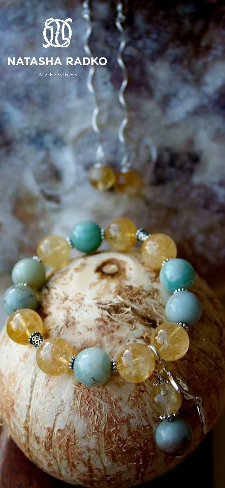 present wristlet jewelry silver amazonite citrine
