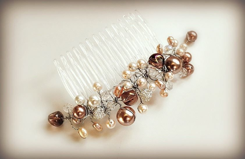 wedding beads pearl champagne bridal hairpiece haircomb