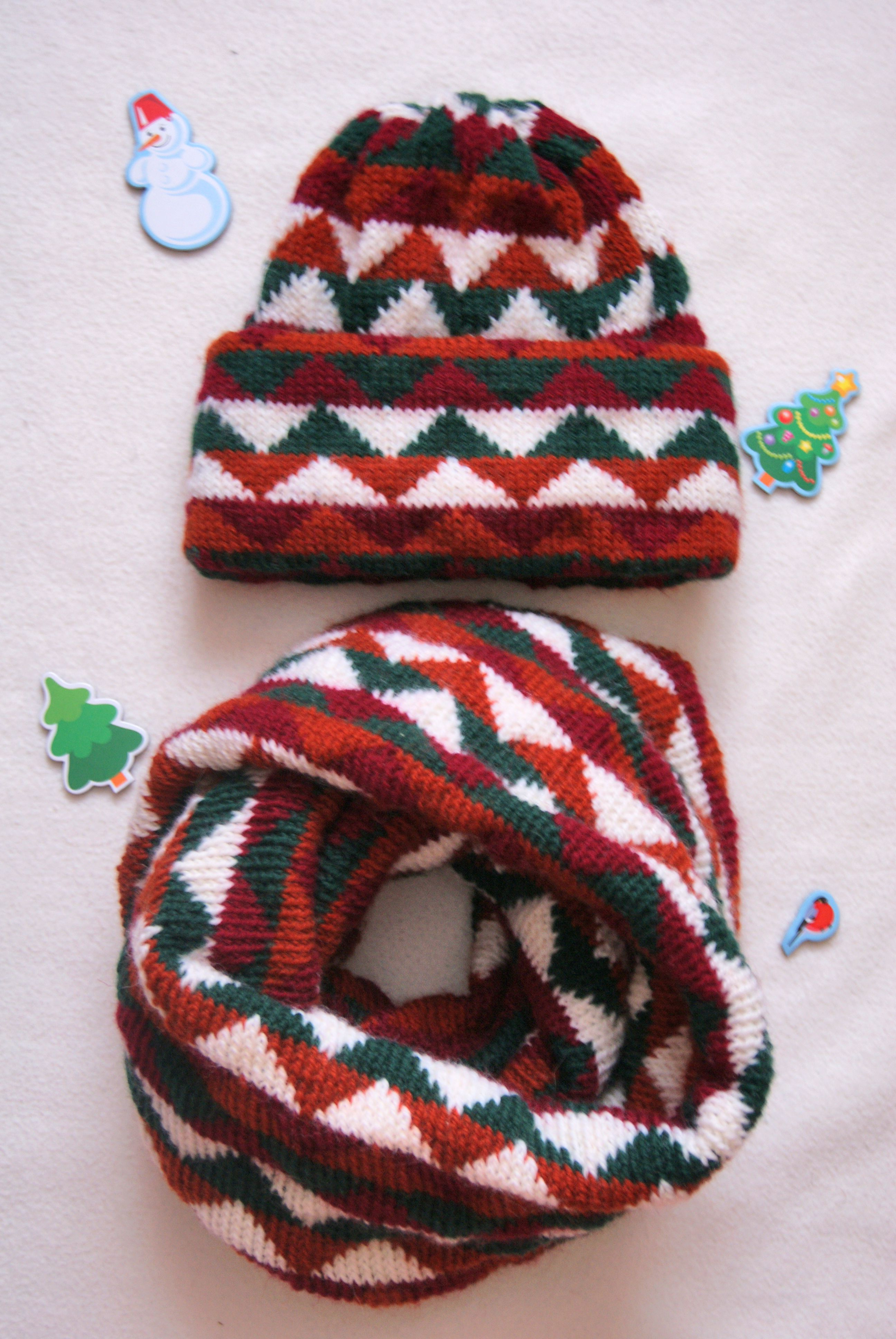 scarf clothes set knitting hat