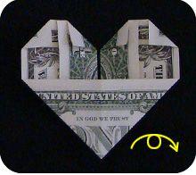folding heart origami money dollar
