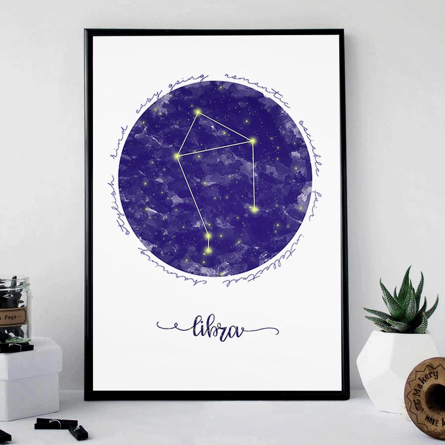 zodiac sign gift libra wall constellation print art