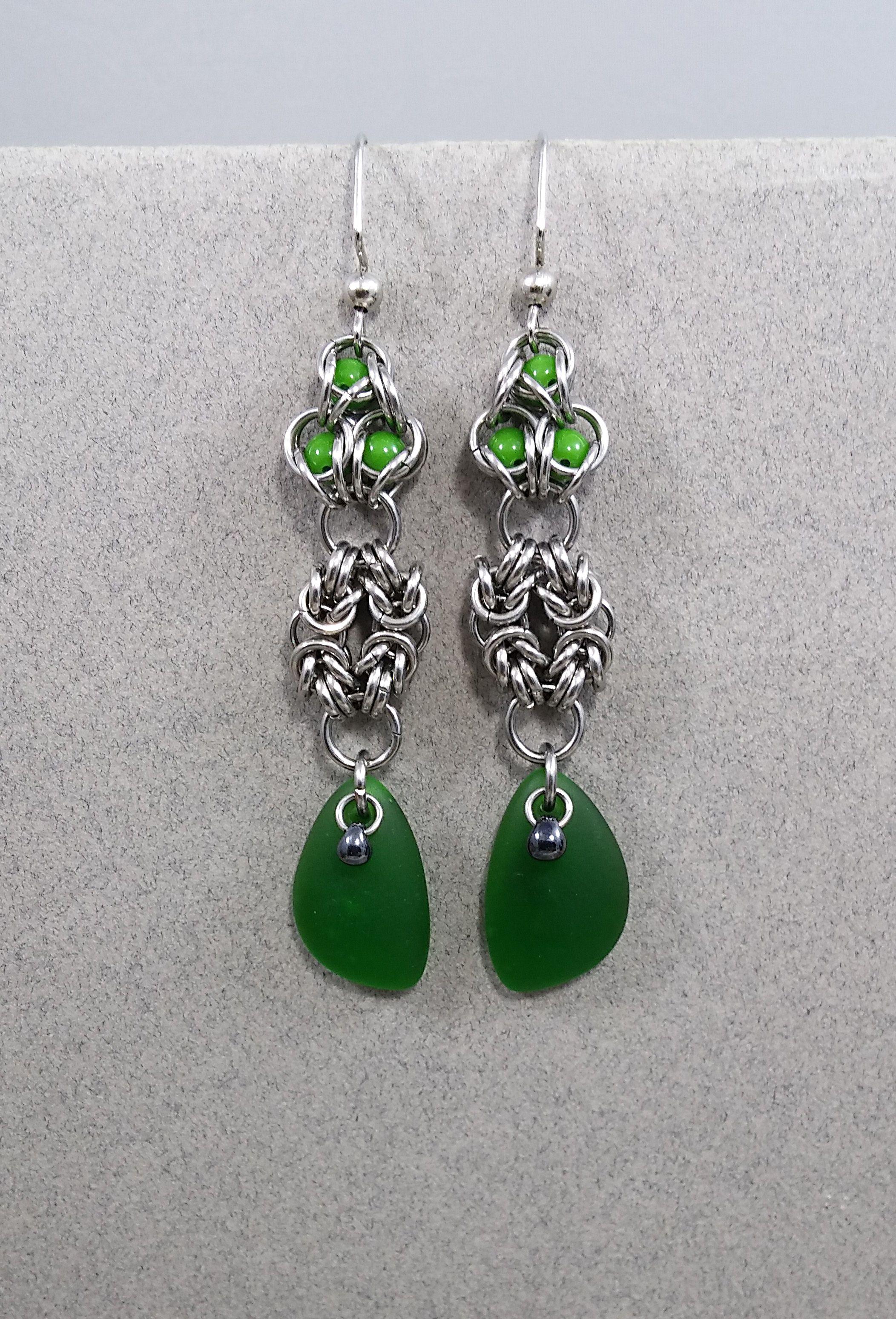 earrings green chainmail steel longearrings seaglass byzantine