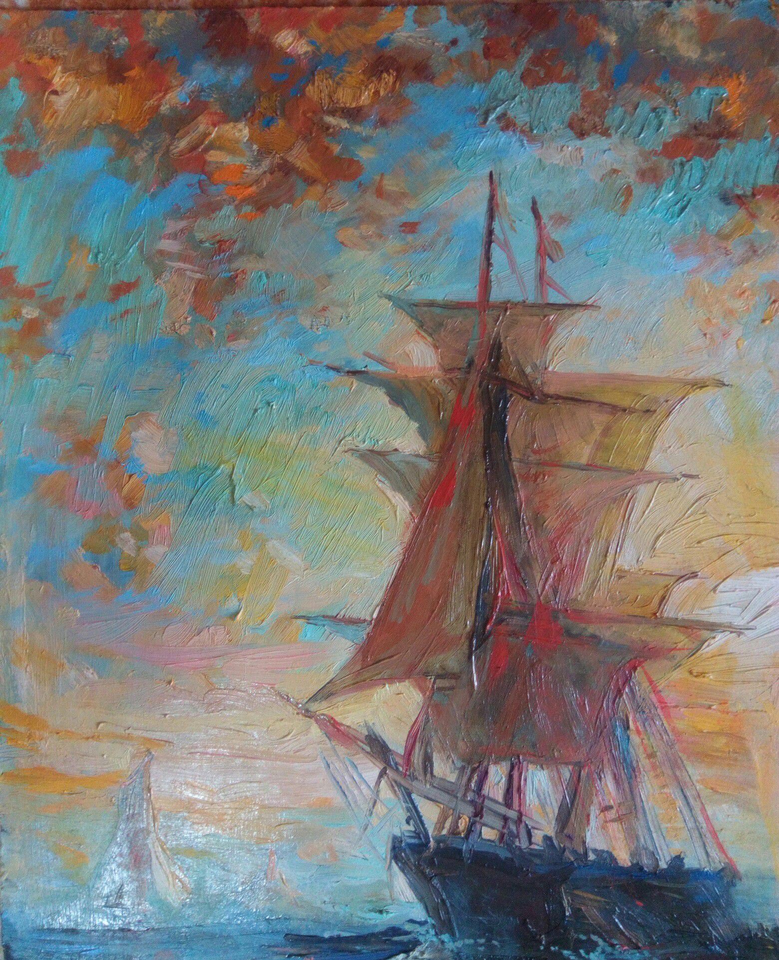 art painting sea interior oil picture
