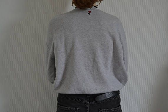 sweater typography roses grey