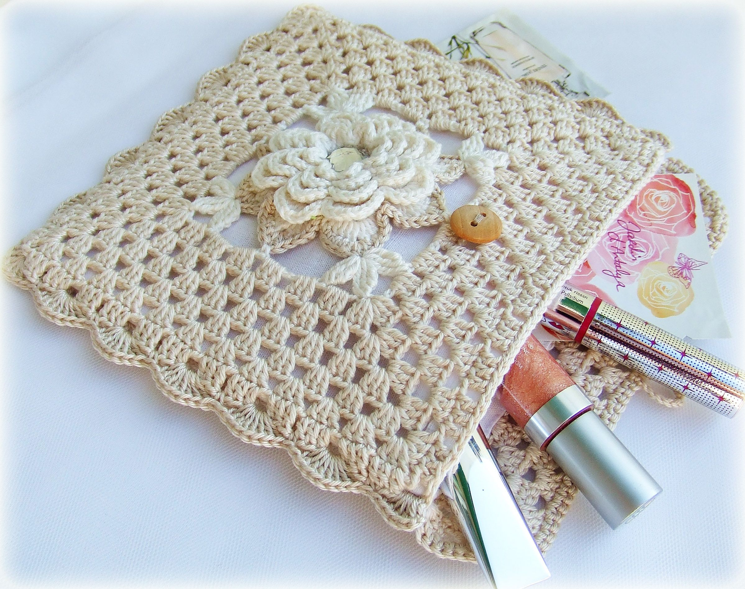 bag cotton knitting pin cosmetics beige