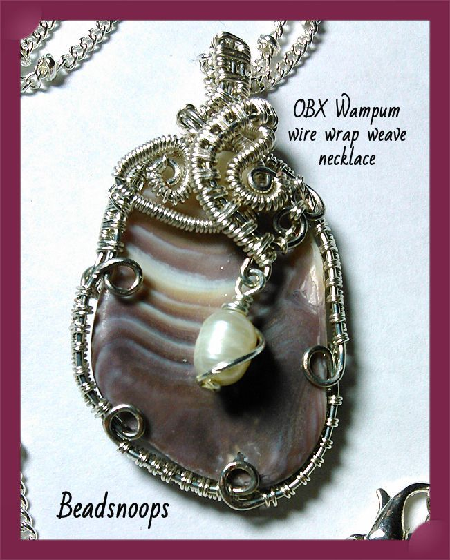 beachfinds beachcombing wirewrapweave shell beadsnoops pendant handmade necklace wampum