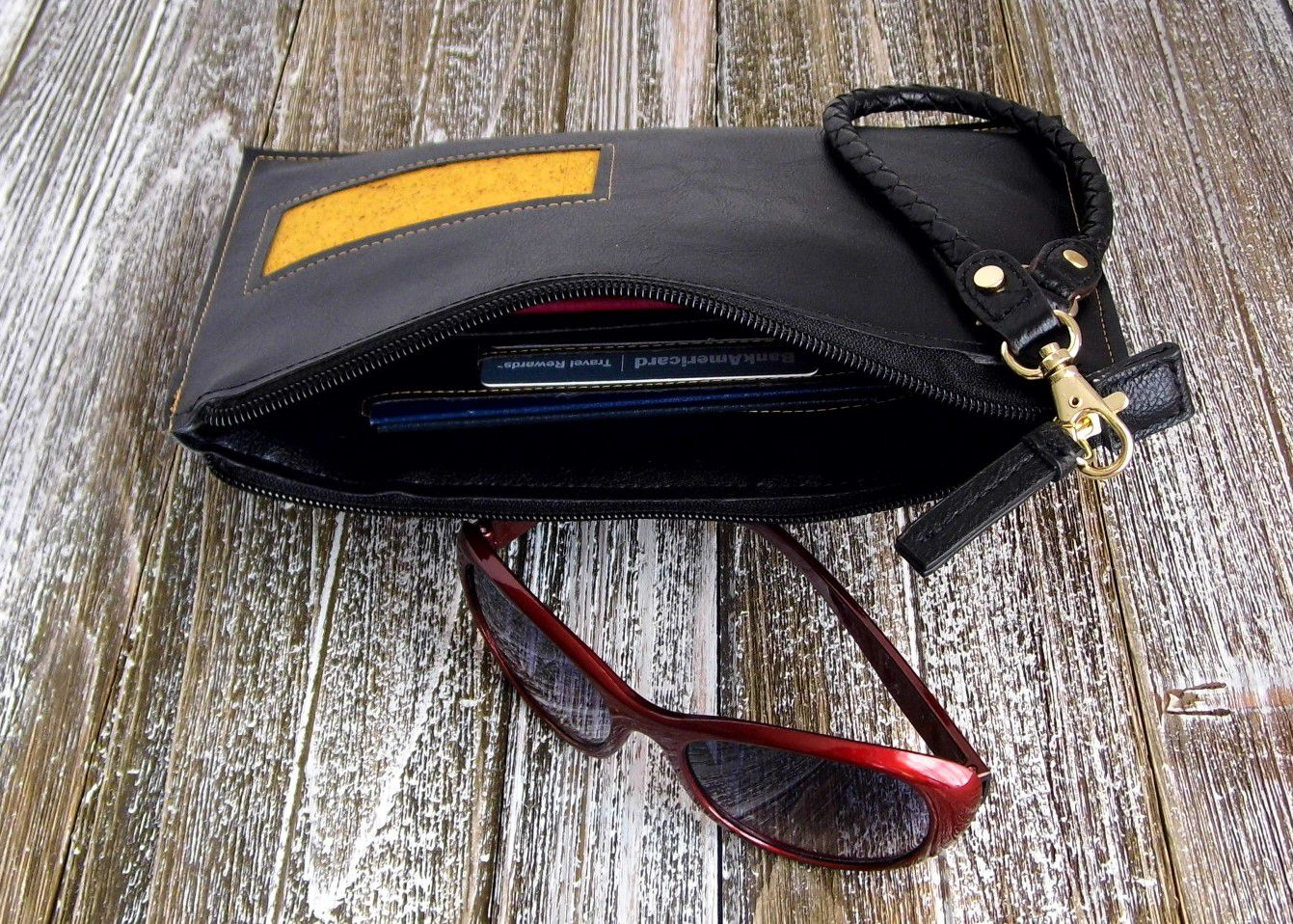 zipperpouch etsy passportpouch travelwallet corkleather black etsyseller giftidea wristlet gennhaio fauxleather veganleather yellow