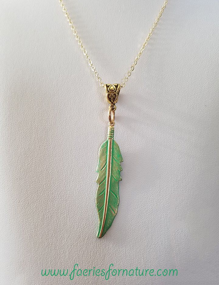 nature bohemian american native feather boho tribal indian gold turquoise jewelry necklace