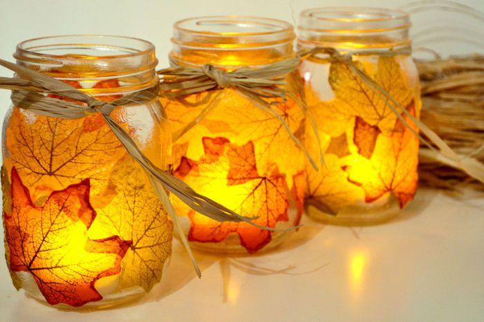 autumn autumnleaves candle candleholder diy creativeidea handmade handicraft