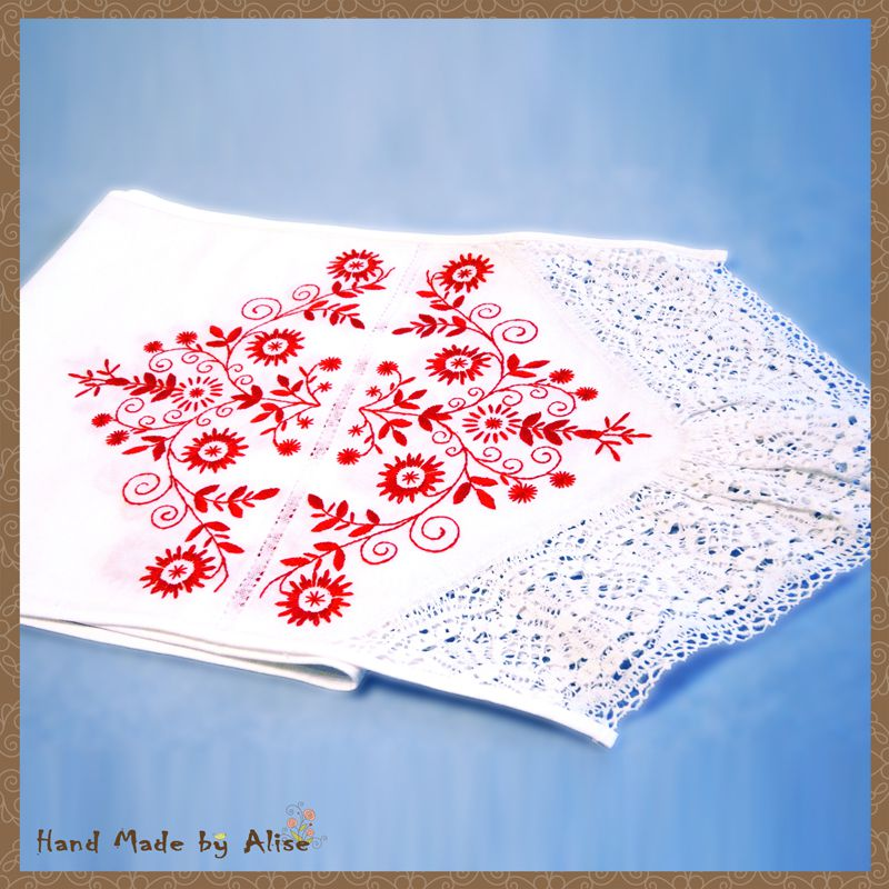 handmade linen homespun towel white red